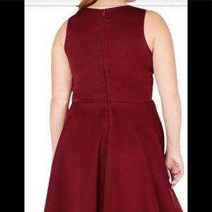 Plus Size City Studio Party Dress Burgundy NWT
